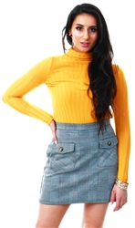 Qed Mustard Rib Knit Polo Neck Jumper