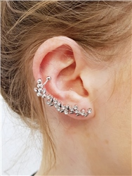 Re Born Sliver Flower And Leaf Earcuffs
