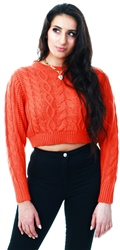 Brave Soul Orange Chunky Knit Crop Jumper