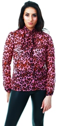 Parisian Pink Leopard Print Pussybow Long Sleeve Blouse