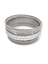 Re Born Silver Mix Glitter Baguette Bangles Pack