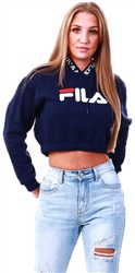 Fila Peacoat / White / Chinese Red Mathilde Crop Hoodie