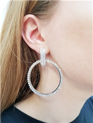 Re Born Silver Pave Drop Hoop Earring