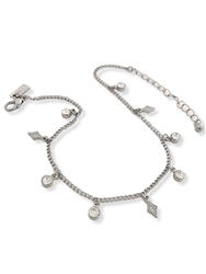 Re Born Silver Rs And Diamond Drop Anklet