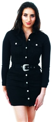 Parisian Black Long Sleeve Button Front Self Belt Stretch Denim D