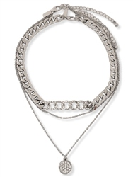 Re Born Silver Pave Chain And Pave Disc 2 Row Necklace