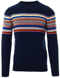 Threadbare Navy Askan Round Neck Knit
