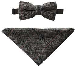 Cavani Albert Grey Bow Tie & Pocket Square