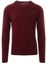 Superdry Buck Burgundy Marl Orange Label Cotton Crew Jumper