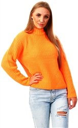 Pieces Orange High Neck Jumper