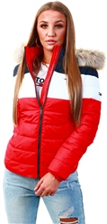 Hilfiger Denim Red Colour-Blocked Padded Jacket