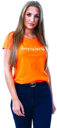 Daisy St Orange Logo Print T-Shirt