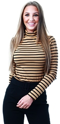 Brave Soul Camel Alexandra Roll Neck Top