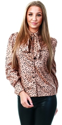 Parisian Brown Spot Print Pussy Bow Long Sleeve Blouse