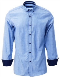 Ottomoda Blue Printed Pattern Button Down Shirt