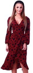 Influence Burgundy Spotted Midi Dress