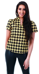 Yellow / Black V Neck Short Sleeve Top by Cutie London