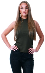 Parisian Khaki Rib High Neck Top