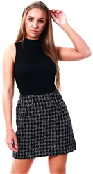 Ax Paris Black 2 In 1 Black Tweed Skirt Dress