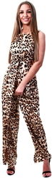 Ax Paris Brown Leopard Print Jumpsuit With Knot Front Detail