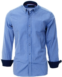 Ottomoda Blue Gingham Check Pattern Shirt
