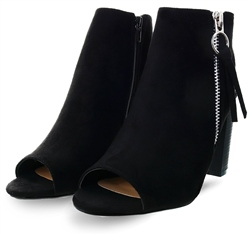 Krush Black Suede Open Toe Block Heel Shoe
