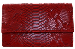Koko Burgundy Snake Textured Clutch Bag