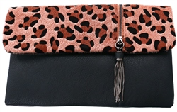 Koko Brown Leopard Print Clutch Bag