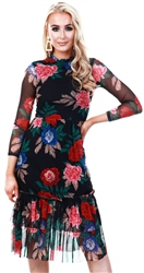 Lexie & Lola Black Floral Mesh Frill Midi Dress