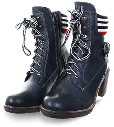 Refresh Navy Lace Up Ankle Boot