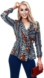 Ax Paris Printed Pattern Wrap Top