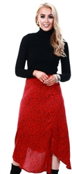 Ax Paris Red Spotty Asymmetric Midi Skirt