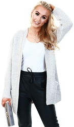 Veromoda Grey / Light Grey Melange Open Front Knitted Cardigan