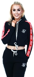 Siksilk Black Contrast Panel Fitted Cropped Raglan Hoodie