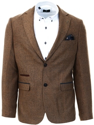 Fratelli Tan Tweed Textured Blazer