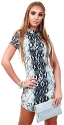 Ax Paris Grey Animal Print Bodycon High Neck Dress