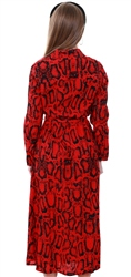 Ax Paris Red Snake Print Long Sleeve Shirt Midi Dress