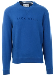 Jack Wills Deep Blue Rainford Flocked Graphic Crew