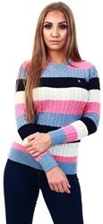 Jack Wills Blue Stripe Tinsbury Classic Cable Crew