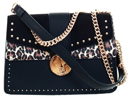 Bessie Black Studded Suede Flap Top Cross Body Bag