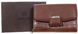 Bessie Tan Lizard Effect Flap Over Purse