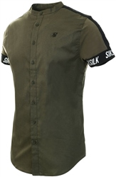 Siksilk Khaki S/S Tech Tape Grandad Shirt