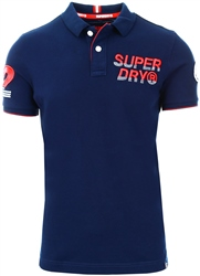Superdry Rich Navy Super State Champion Organic Cotton Polo Shirt