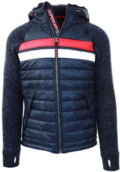 Superdry Rich Navy Storm Chest Stripe Hybrid Zip Hoodie