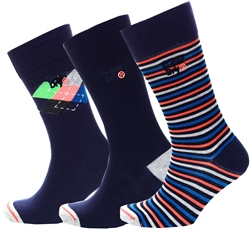 Superdry Navy Patterned City Sock Triple Pack