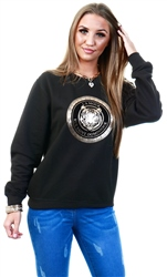 Missi Lond Black Gold Tiger Print Sweater