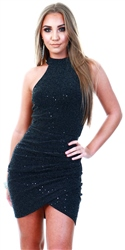 Ax Paris Black Sparkle High Neck Ruched Dress