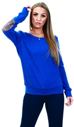 Glamorous Royal Blue Check Elbow Patch Jumper