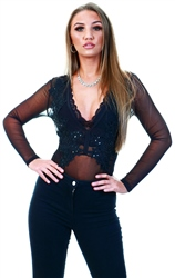 Qed Black Mesh Lace Long Sleeve Bodysuit