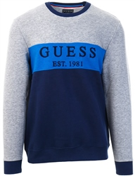 Guess Navy Colour-Block Logo Sweater